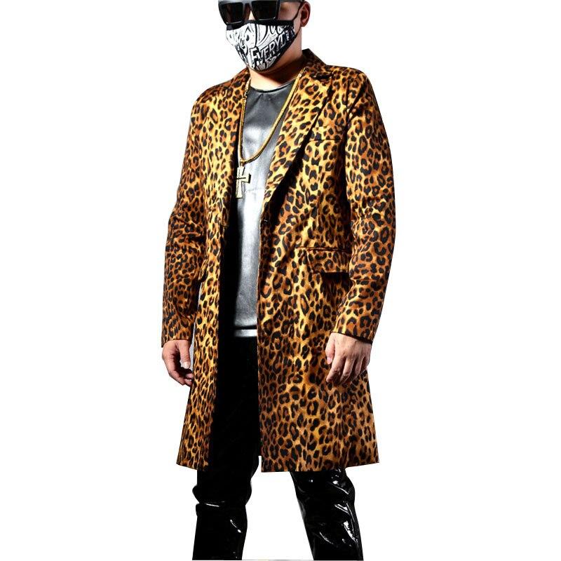 Casual Leopard Slim Fit Long Blazer Homme Jacket Dress Suit Coat Men Fashion Male Dancer Singer Hip Hop Costume Stage Clothing