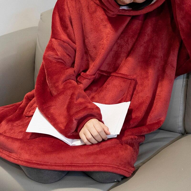 Winter Warm TV Sofa Blanket with Sleeves Fleece Pocket Hooded Weighted Blanket Adults Kids Oversized Sweatshirt Blanket for Bed-1