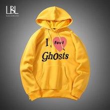 Sudadera con capucha y estampado de fantasmas para hombre, pulóver informal con capucha Harajuku para hombre, ropa de calle de tendencia