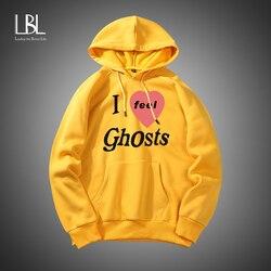 I feel Ghosts Print Men Harajuku Casual Pullover Hoodies Male Fashion Letter Print Hooded Sweatshirt Man Trend Street wear Tops