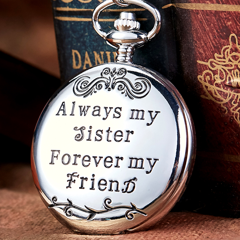 To My Sister Gifts Quartz Pocket Watch Forever Friend Present Luxury Gold Silver Black Steampunk FOB Chain Pendant Fashion Clock