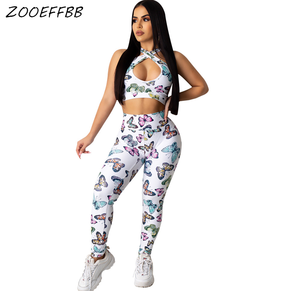 ZOOEFFBB Sexy Butterfly Two Piece Set Summer Clothes For Women Tracksuit Crop Top And Pant Sweat Suit Club Outfits Matching Sets