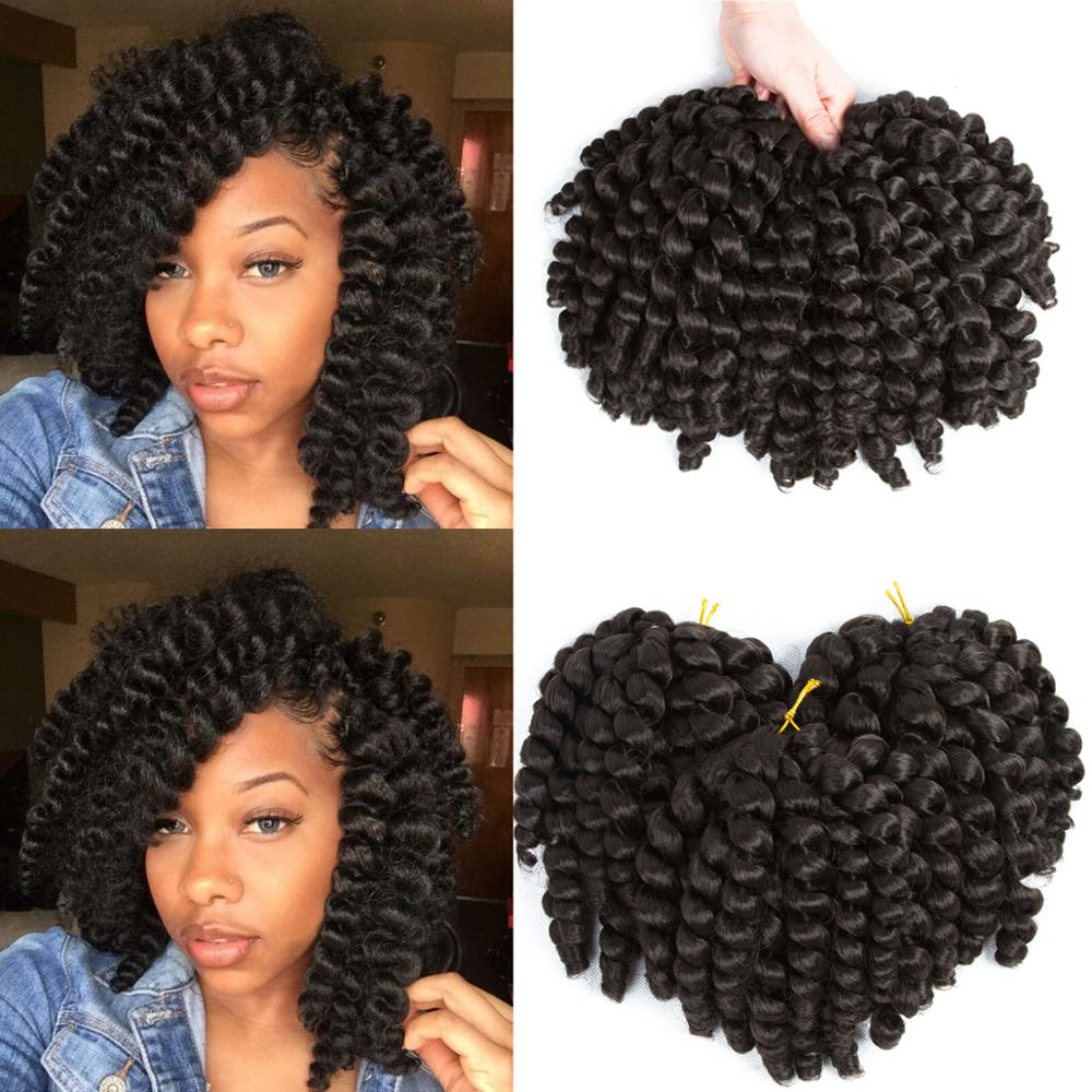 Synthetic High Temperature Braiding Hair Jumpy Wand Curl Hair Jamaican Crochet Twist Bouncy Braiding Hair 20 Strands 10 Inches