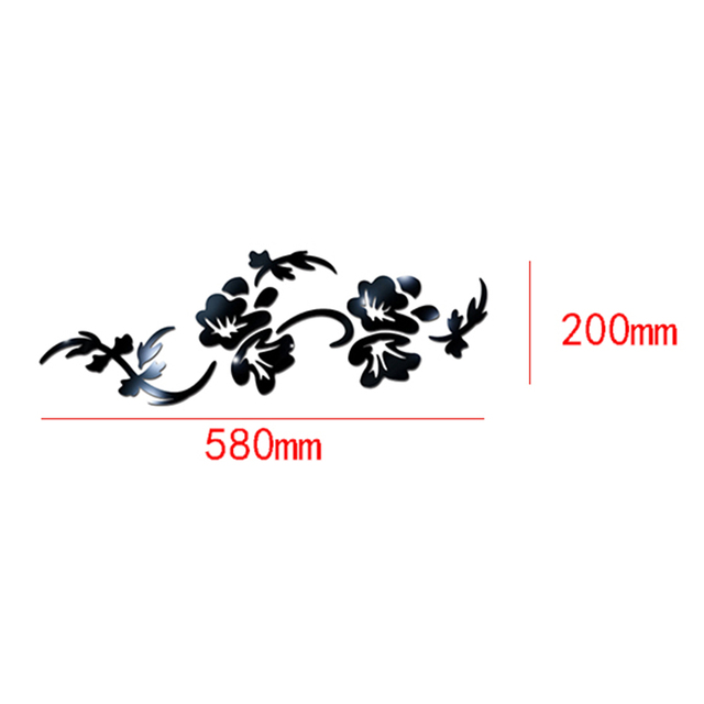 3D Flowers Design Acrylic Mirror Wall Sticker Bedroom Living Room Porch Decorative Wallpaper Decal Home Office Bar Decoration 6