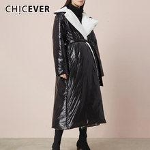 Женское хлопковое пальто с отложным воротником длинным рукавом
