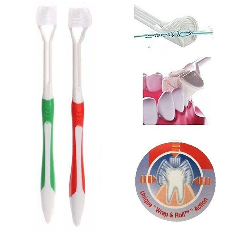 Special Autism Overly Sensitive Child's Pratical Expansion Pleats Triple Sided Triple Heads Three-dimensional Toothbrush