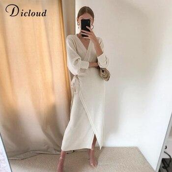 DICLOUD Long Women Knitted Wrap Dress 6
