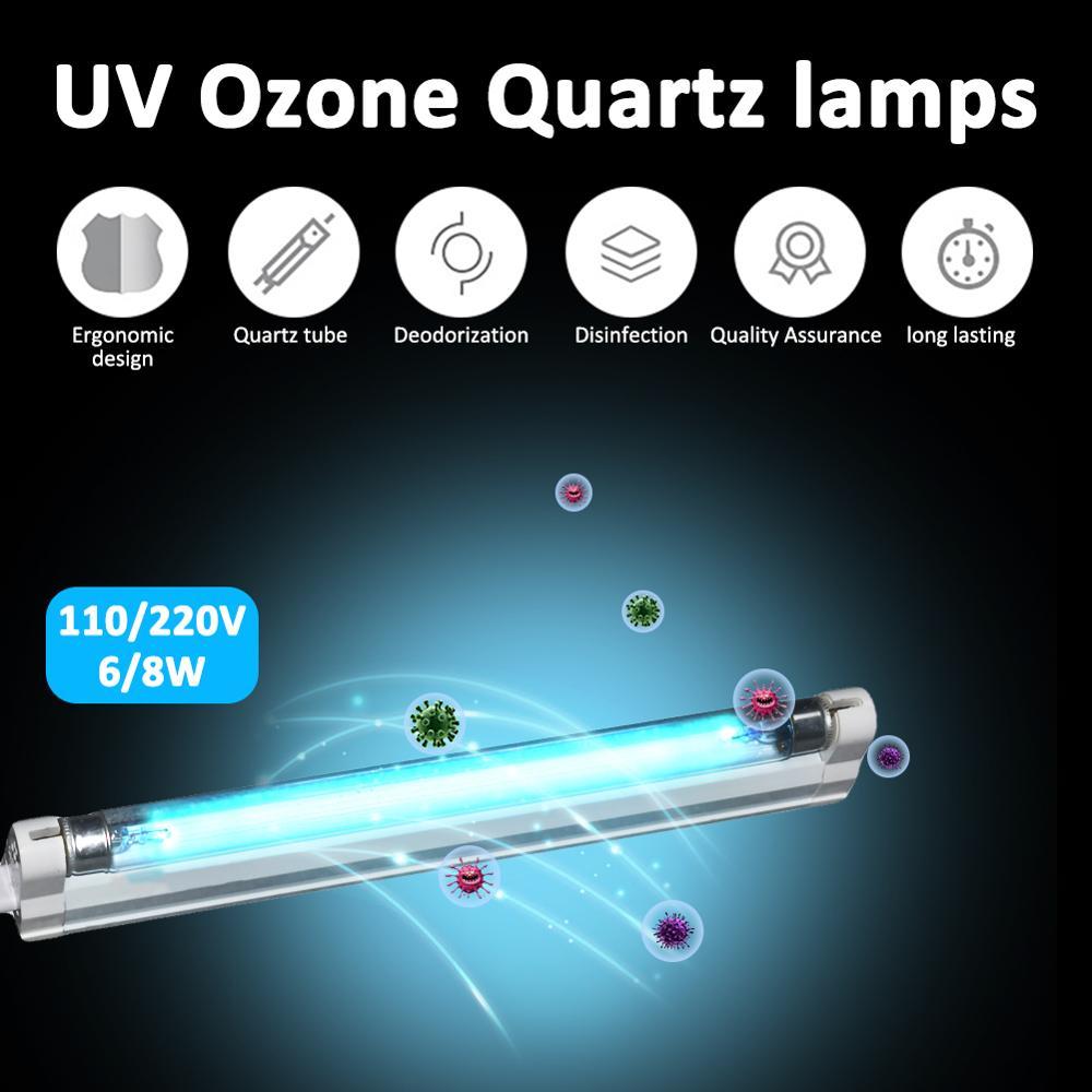 6W 8W Ultraviolet Germicidal Light T5 Tube With Fixture UVC Disinfection Sterilizer Kill Dust Mite UV Quartz Lamp