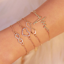 все цены на 4Pcs Retro ECG Heart Multilayer Bracelets Set Crystal Charm Boho Bangles Bracelets for Women Stone Beads Pendant Jewelry WD584 онлайн
