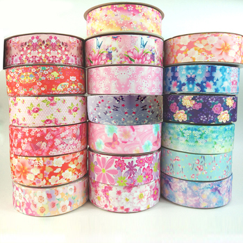 5yards/lot 25/38mm Grosgrain Ribbon Printed Lovely Floral Lace Satin Ribbons for DIY Bow Craft Card Gifts Wrapping kewgarden handmade tape 1 1 2 38mm thick soft cotton fabric satin ribbon diy bow tie brooch ribbons double face riband 8 meter