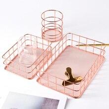 Nordic Iron Storage Basket Office Desktop Rose Gold Sundries Makeup Brushes Cosmetics Multifunction Organizer