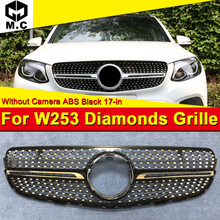 Diamond Style Grille Grill W253 Sport ABS Black Fits For MercedesMB GLC class GLC250 300 350 400 Look grills Without sign 17-in