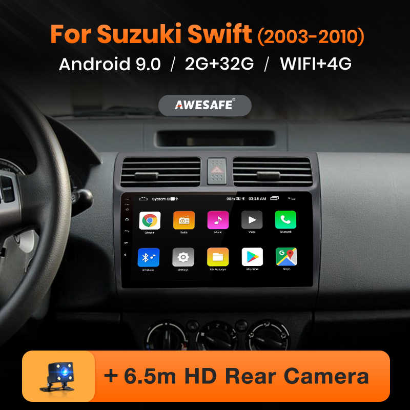 AWESAFE para SUZUKI SWIFT 2003, 2004, 2005, 2006-2010 auto Radio Multimedia reproductor de video GPS No 2din 2 din Android 9,0 2GB + 32GB