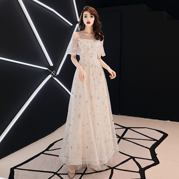 One Shoulder Beads Young Lady Evening Party Dress Star Squins Mesh Dress Cheongsam Halter Elegant Maxi Gown Plus Size 3XL