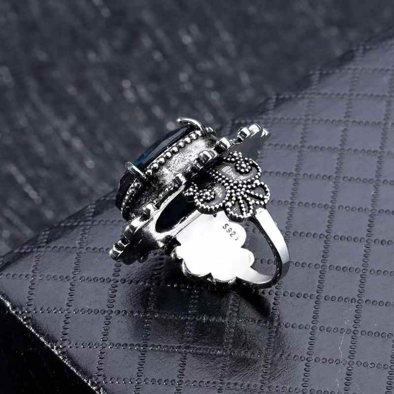 VINTAGE 925 แหวนเงินเครื่องประดับขนาดใหญ่รูปไข่สีฟ้าอัญมณีแหวนสำหรับชายหญิงงานแต่งงานครบรอบ PARTY ของขวัญเครื่องประดับขนาด 6-10