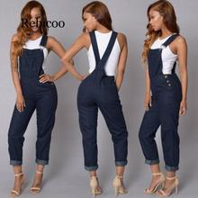 Womens Baggy Denim Jeans Full Length Overall Jumpsuit Playsuit bodysuits Overalls for women women jeans distressed jeans striped overall denim overall