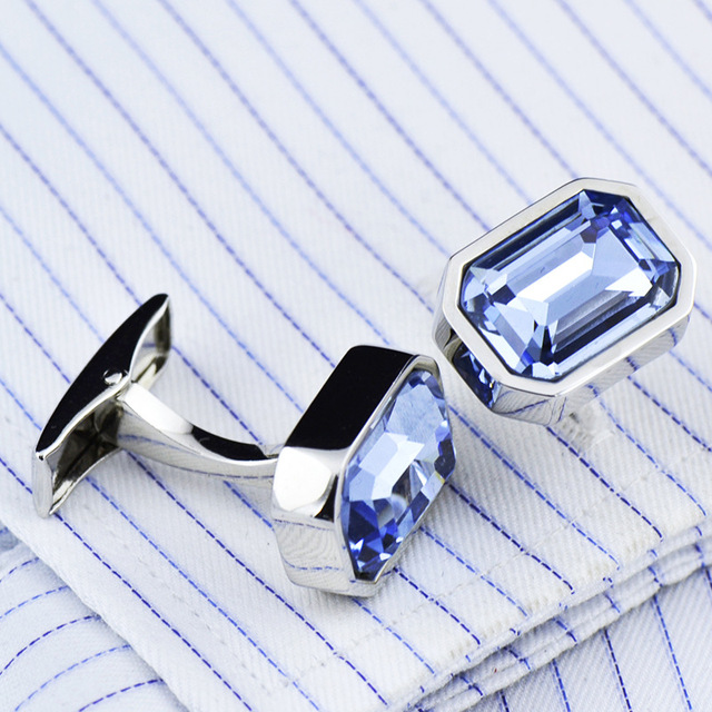 Men's French Classic High Grade Simple Blue Crystal Cuff Links 1