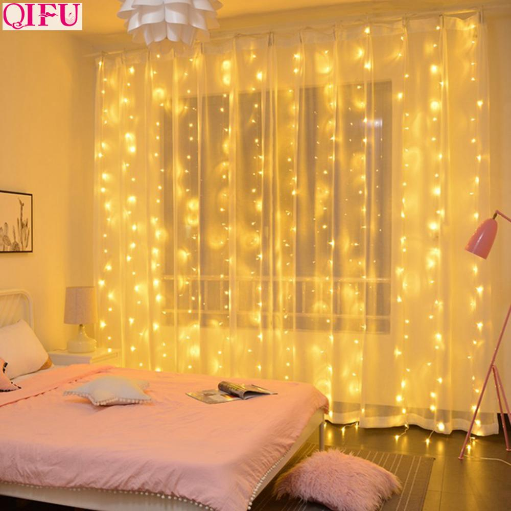 QIFU USB Curtain Light Merry Christmas Decor For Home 2019 Christmas Ornaments Christmas Tree Pendants Xmas Gifts New Year 2020