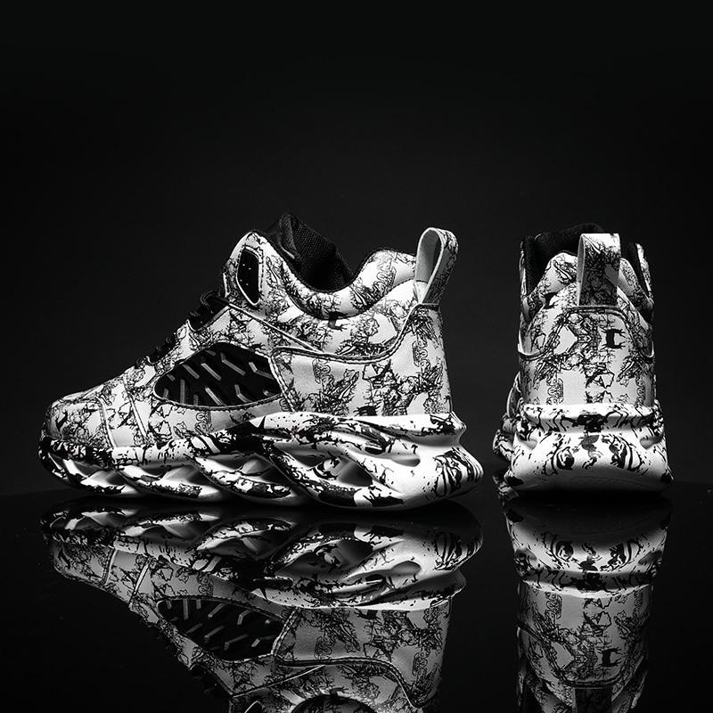 New Men Hip Hop Street Running Shoes Graffiti High Top Chunky Sneakers Blade Warrior Cushioning Sport Zapatillas Jogging Shoes