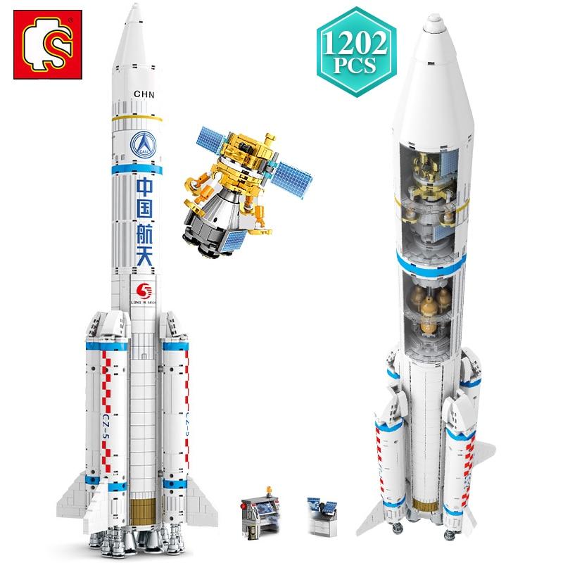 SEMBO Technic 1202 pièces lancement véhicule blocs de construction avec de petites Figures fusée modèle briques jouets enfants éducatifs vacances cadeau