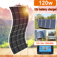 solar panel 12v 100w flexible 120w solar battery charger solar cell kit for caravan boat car RV cabin 1000w home system travel