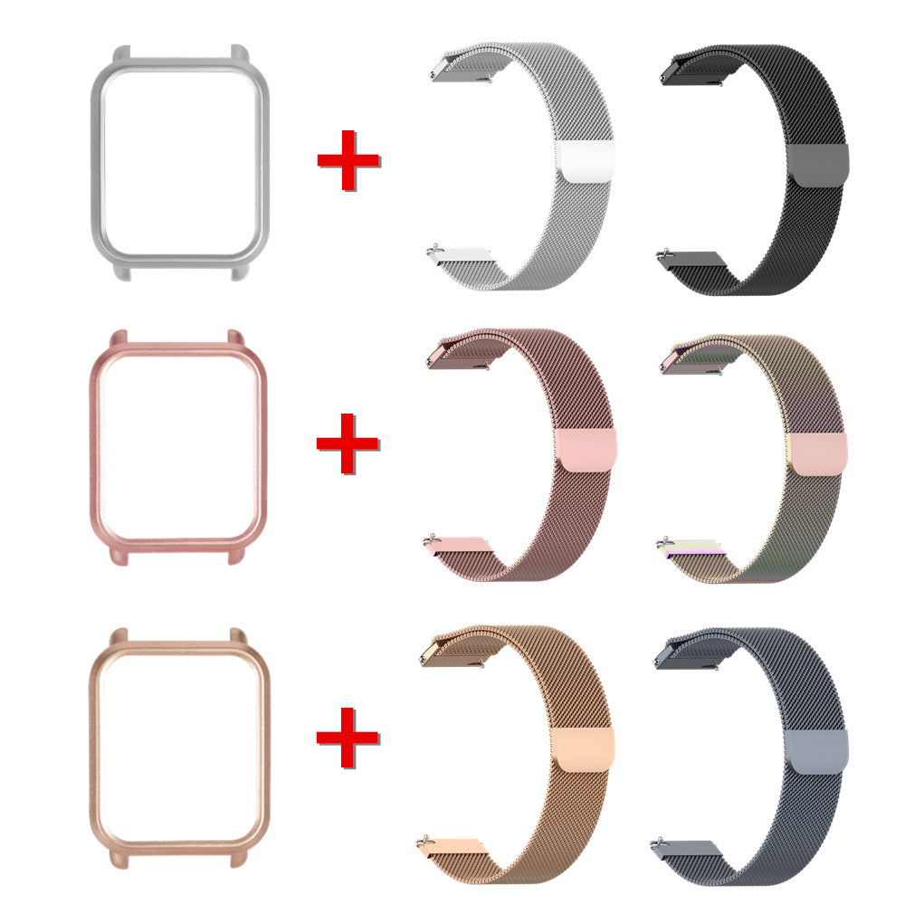 For Amazfit Bip Smart Watch For Xiaomi Amazfit BIP GTS Milanese Metal Wrist Strap PC Protective Cover Watchband + Case 2in1 Pack