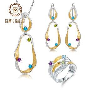 Набор ювелирных изделий GEM'S BALLET, набор из серебра 925 пробы с подвеской из кольца и серьги с натуральным аметистом и топазом