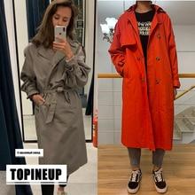 Ветровка женская двубортная, винтажный тренчкот для женщин, длинное пальто, верхняя одежда, пальто с отложным воротником и поясом