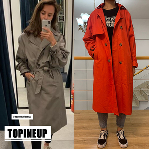Image 1 - womens windbreaker Double Breasted Vintage Trench Coat For Ladies Long Coat Outerwear jaqueta feminina Lapel Coat  With Belt