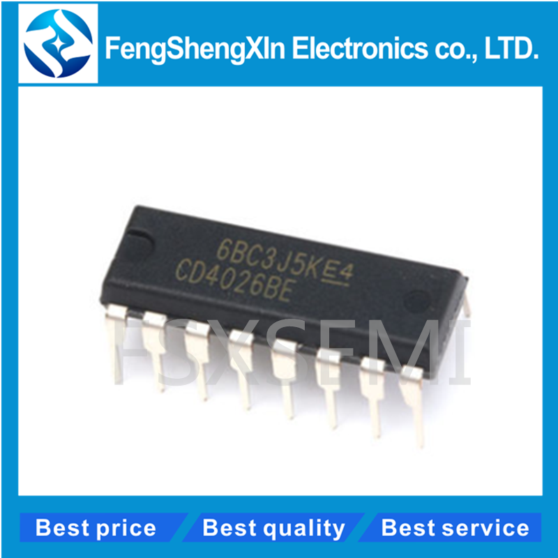 10pcs/lot 100% New original <font><b>CD4026BE</b></font> DIP-16 CD4026 CMOS Decade Counters/Dividers ic image