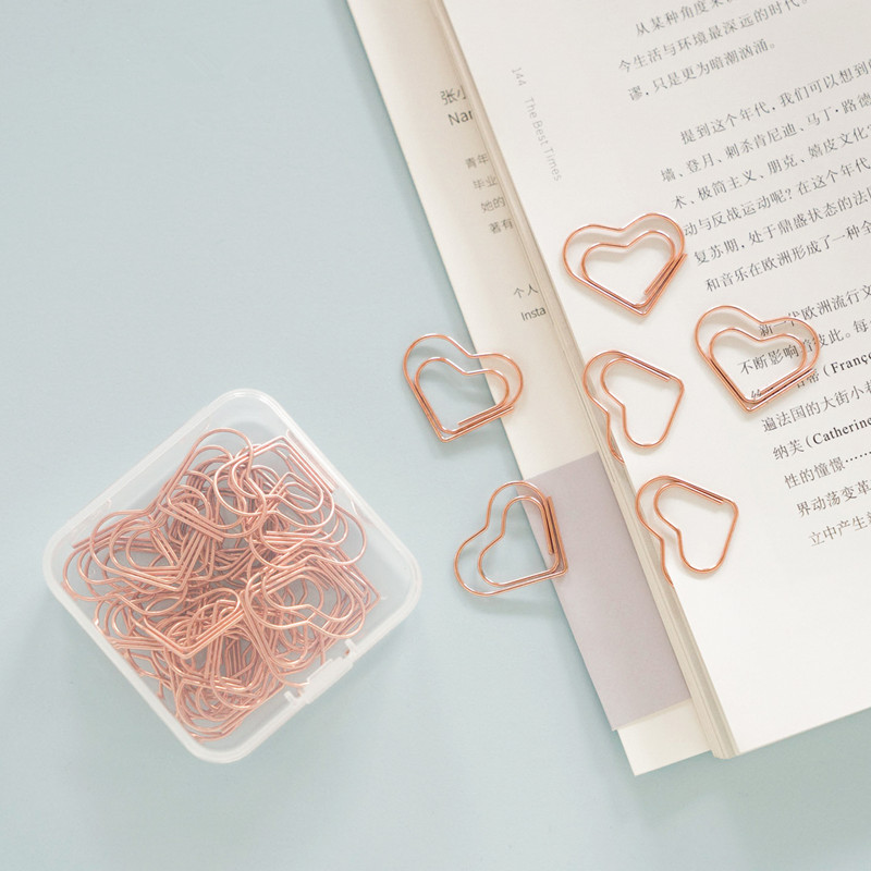 TUTU Kawaii Love Heart 25Pcs/BOX Metal Material Rose Gold Paper Clip For Book Stationery School Office Supplies Stationery H0382