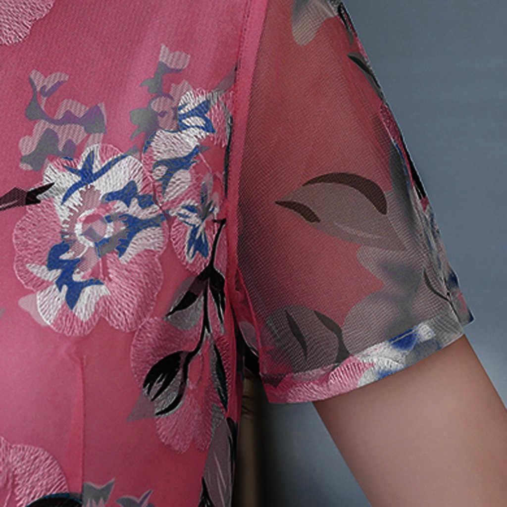 #20 delle donne Delle Donne del Vestito casual Semplice di Estate di Modo O-Collo Alla Caviglia Manica Corta Vestito Dalla Stampa Della Boemia Vestito Lungo