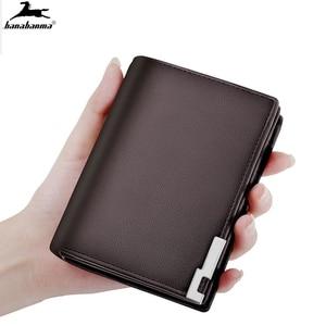 men wallets mini slim male fashion leather PU portfel purse Metal edge portafoglio uomo thin brieftasche small men's walle
