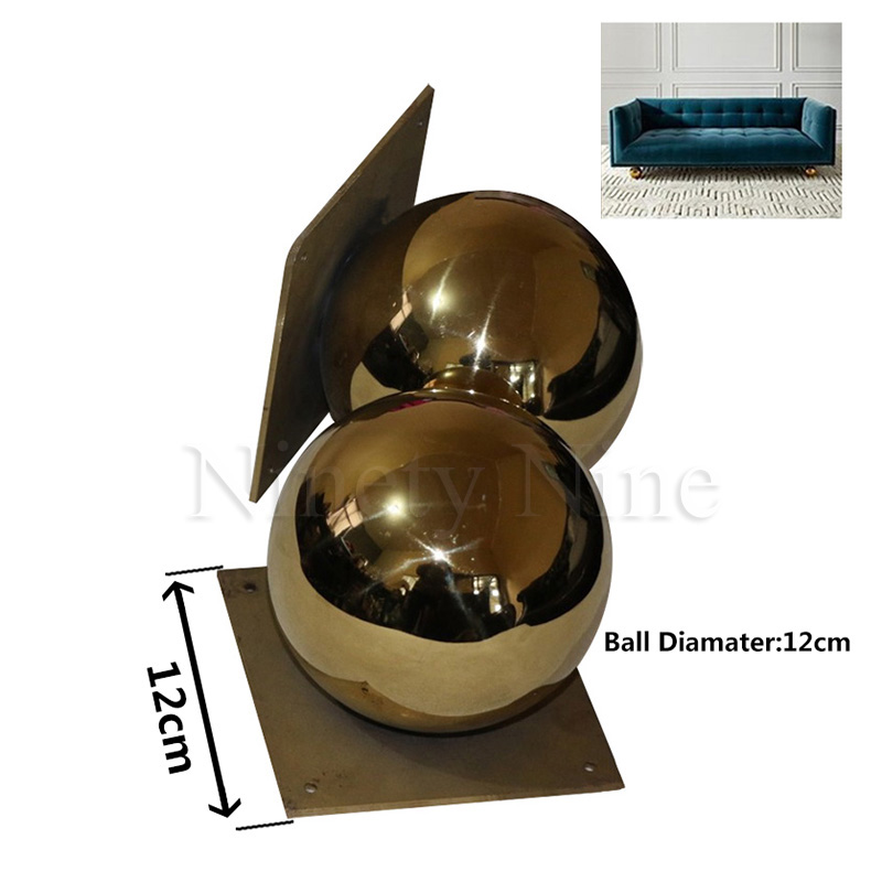 Image 2 - 2Pcs/Lot Gold Furniture TV Cabinet Sofa Ball Feet LegGolden ball sofa leg round metal hollow ball hardware feet-in Furniture Legs from Furniture
