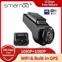 Cámara de salpicadero 4K Wifi de la cámara de visión trasera HD Visión Nocturna coche DVR grabadora de Video con GPS 24H de apoyo a la supervisión 256G tarjeta