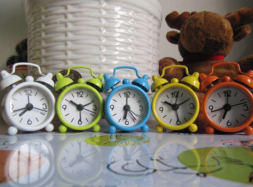 置時計クリエイティブかわいいミニ金属小さなアラーム時計電子小さなアラーム時計ラウドアラーム時計 despertador будильник # L5