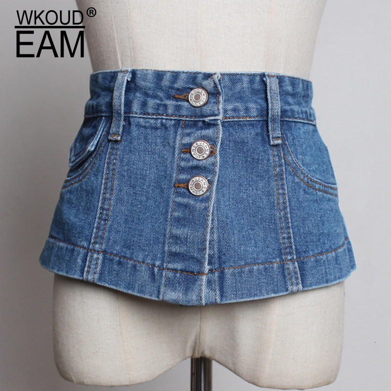 WKOUD EAM 2020 New Fashion Autumn Denim Corset Belt For Women Casual Single Breasted High Street Korea Style Girdle Female ZJ903