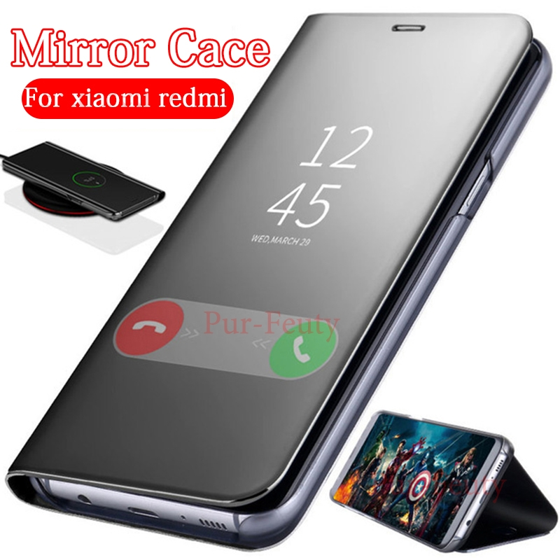 Mirror leather Flip For Xiaomi <font><b>Redmi</b></font> <font><b>Note</b></font> 7 M1901F7G Luxury Stand Cover <font><b>Redmi</b></font> <font><b>Note</b></font> <font><b>6</b></font> 5 <font><b>Pro</b></font> 6a <font><b>Cases</b></font> for Xiaomi Xiaomi Red Mi Go image
