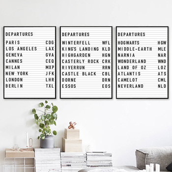 Departures Country List Canvas Painting Paris New York Netherland Poster On The Wall For Living Room Can Be Customized Picture image