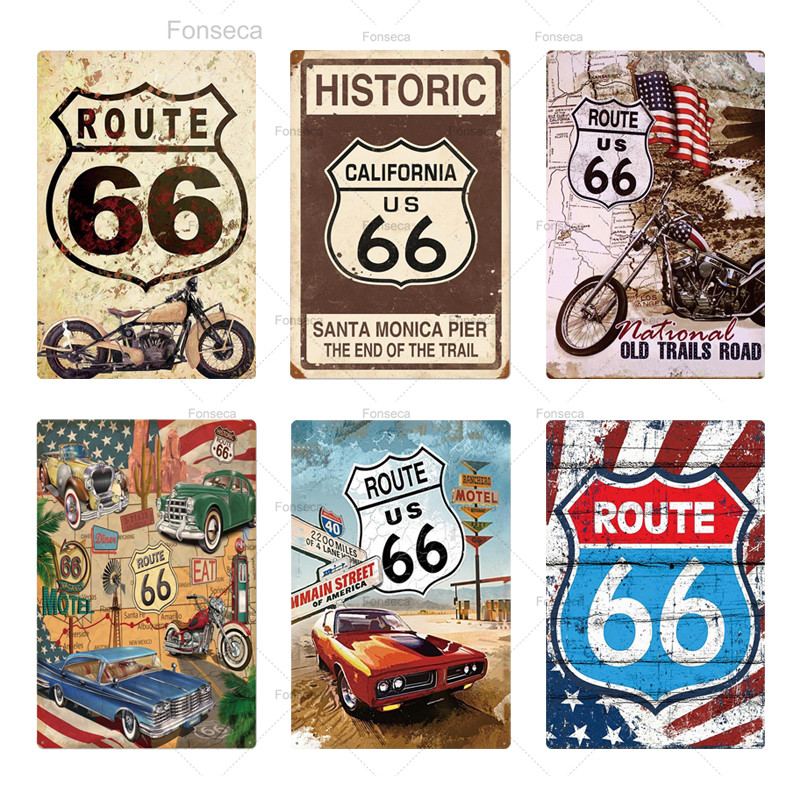 Historic Old Route 66 Wall Art Decor Shop Man Cave Bar Retro Vintage Metal Sign
