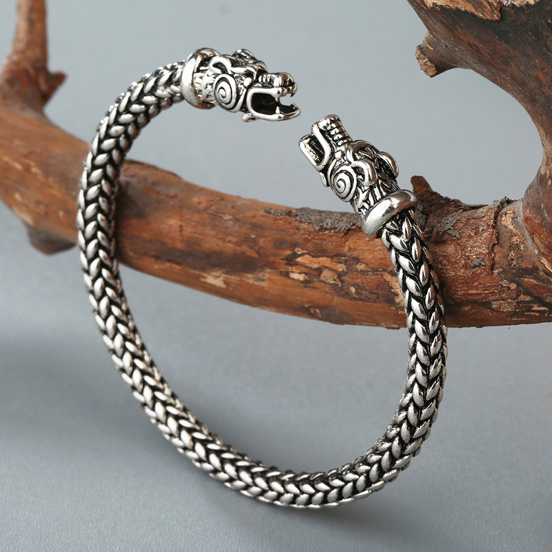 Vintage Dragon Head Mouth Open Cuff Bracelet Nordic Viking Bangle Antique Silver Twisted Pattern Carved Wristband Jewelry