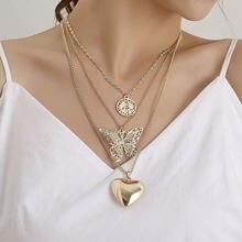 Полые большие бабочки стереоскопического сердца кулон ожерелье