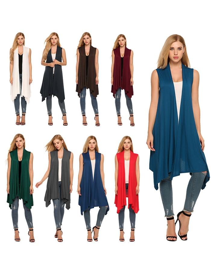 eBay explosion models sleeveless draped cardigan cardigan vest asymmetric hem cardigan ladies jacket(China)