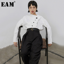 Pleated-Button Fit-Shirt Blouse New Long-Sleeve White EAM Women Asymmetric Loose Spring Autumn