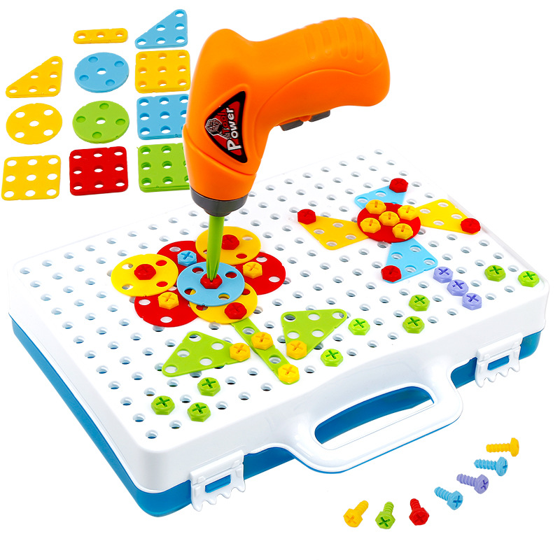 Children's Drill Toys Baby Creative Screwdriver Mosaic Toy Kids DIY Model Kit Learning Educational Game Screw Puzzle Kit Gift