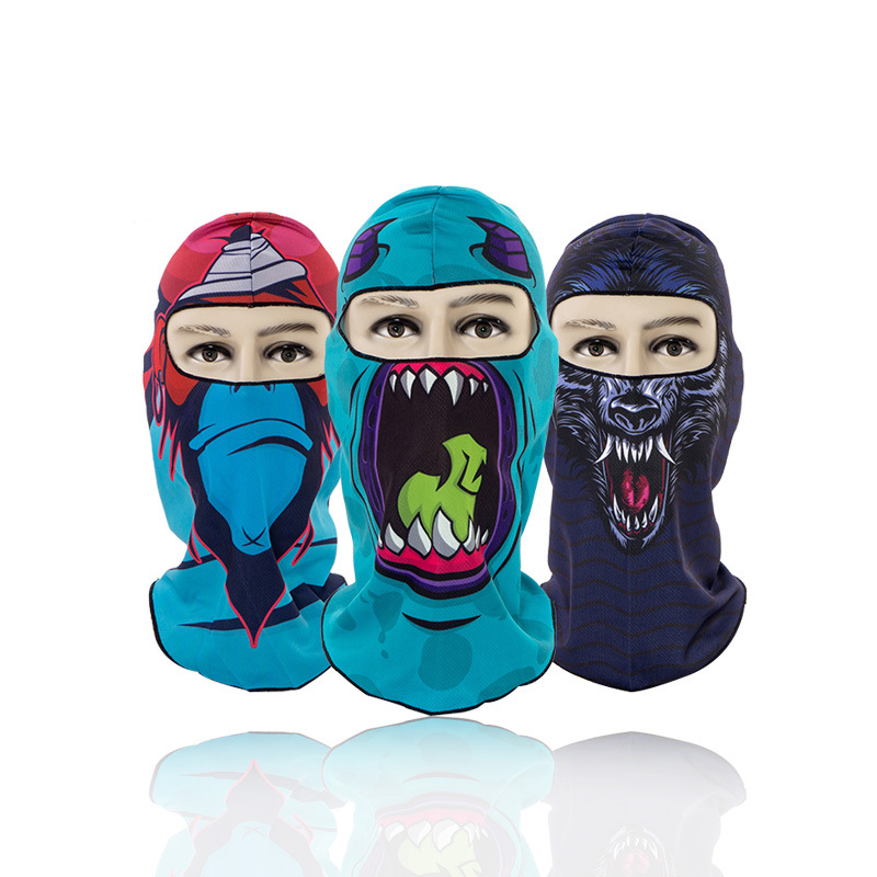1pc All Season Print Breathable Balaclava Face Mouth Mask Man Women Unisex Outdoor Cycling Mask Black Mask Mouth Head Cover