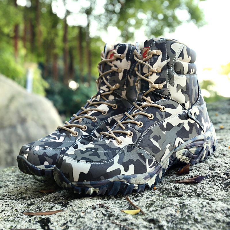 Military Army Men Boots Winter Lace Up Waterproof Outdoor Shoes Breathable Canvas Camouflage Tactical Combat Desert Ankle Boots image