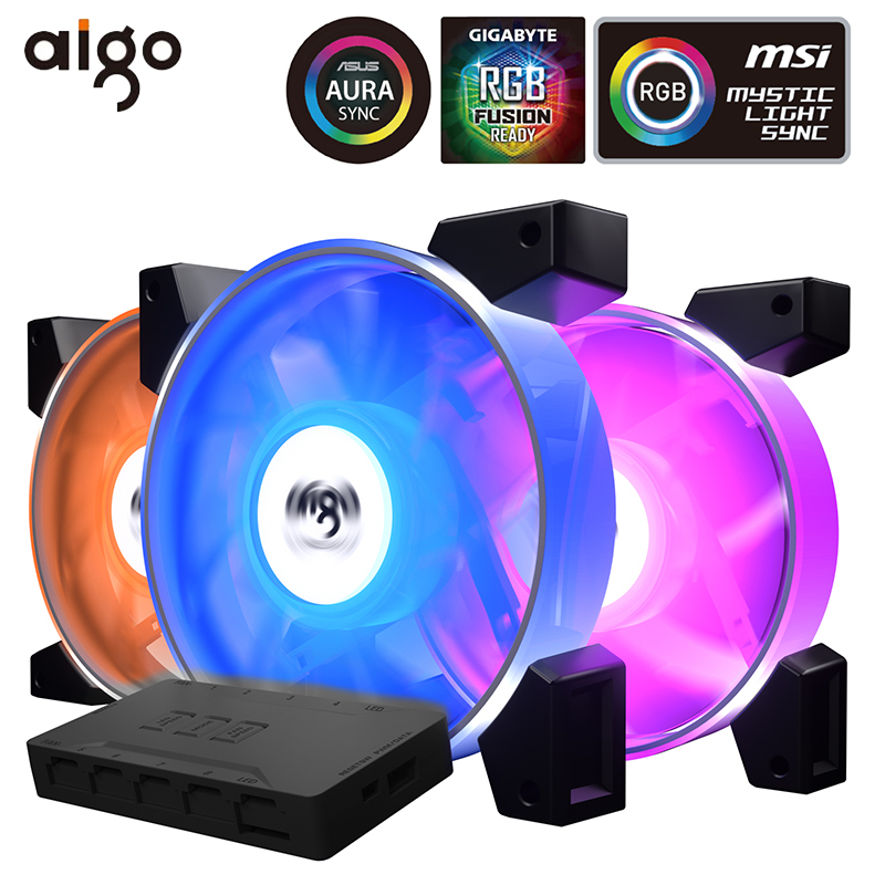 Blue Lights Fans Computer Case PC RGB Cooling Fan Adjust LED 120mm Quiet Cooler