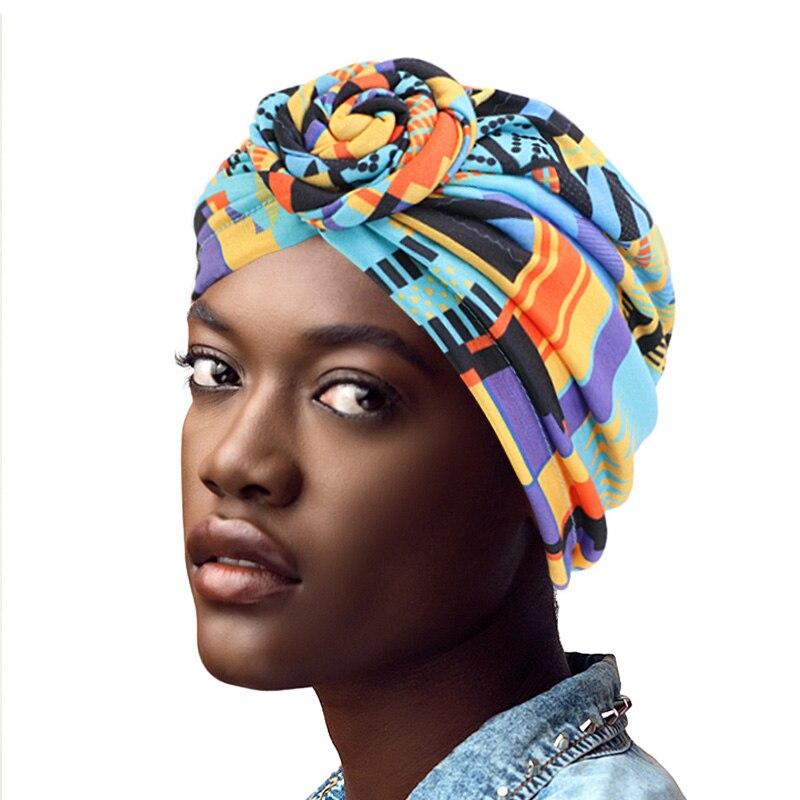 Cotton Turban African Pattern Flower Turban For Women Knot Head Wrap Bandana Hats Ladies Chemo Cap Headwear Hair Accessor
