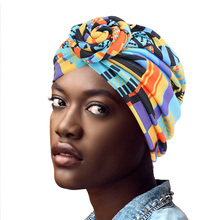 Cotton Turban African Pattern Flower Turban for Women Knot Head wrap Bandana Hats Ladies Chemo Cap Headwear Hair Accessor